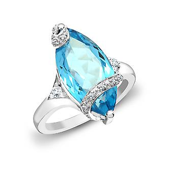 Jewelco London 18ct White Gold Pave Set G SI1 0.11ct Diamond and Marquise Blue 7.3ct Topaz Cocktail Solitaire Ring 20mm