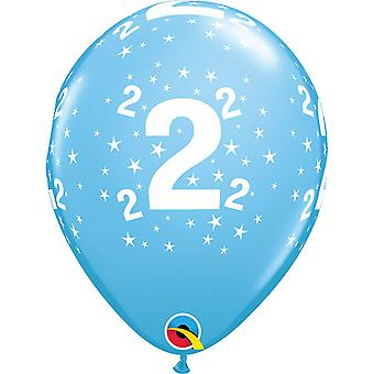 Qualatex Age 2 Stars A-Round Latex Balloon (Pack of 6)