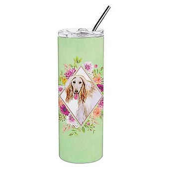 Afghan Hound Green Flowers Double Walled Stainless Steel 20 oz Skinny Tumbler
