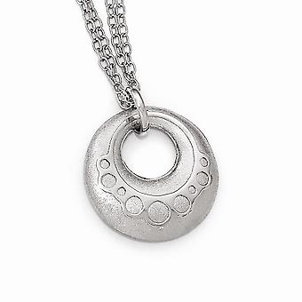925 Sterling Argento Scratch-finish con 1inch Ext. Collana - 7.3 Grams - 16 Pollici