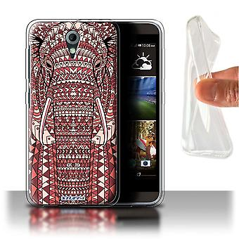 STUFF4 Gel/TPU Case/Cover voor HTC Desire 820 Mini/olifant-rood/Azteekse dier