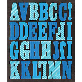 Life's Little Occasions Alphabet Die Cut Stickers Blue Stripes K623804