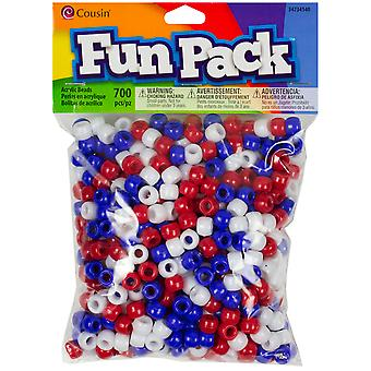 Pony Bead Mix Red White Blue Ccmix 34140