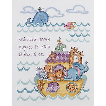 Noah's Ark Birth Record Counted Cross Stitch Kit 10
