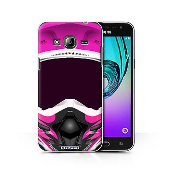 STUFF4 Case/Cover for Samsung Galaxy J3/Motocross/Pink/Motorcycle Helmet