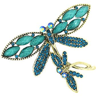 Brooches Store Vintage Inspired Turquoise Blue Bead and Crystal Double Dragonfly