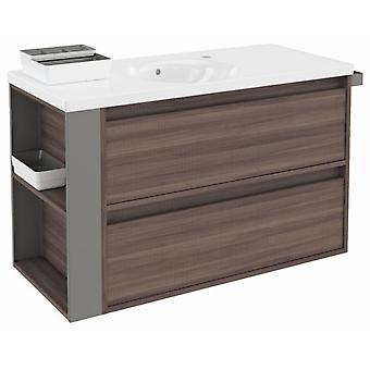 Bath+ Cabinet 2 drawers with porcelain sink Fresno-Grey 100cm