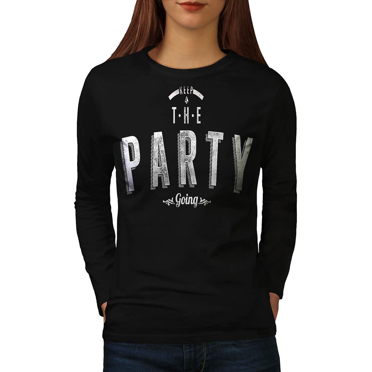 Keep The Party Going Rave Beats Women Black Long Sleeve T-shirt | Wellcoda