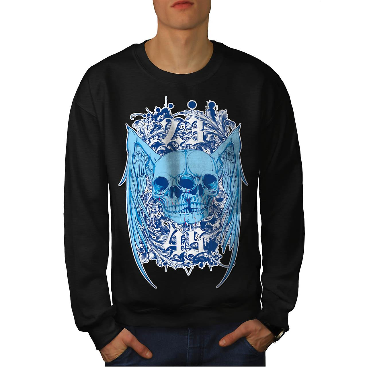 Double Skull Ghost Joint Monster Men Black Sweatshirt | Wellcoda