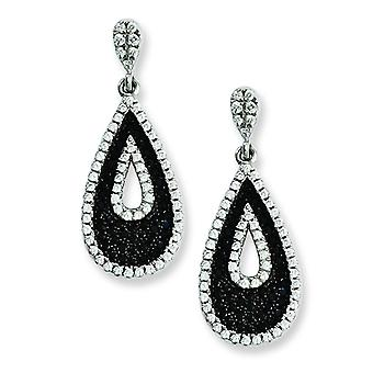 Sterling Silver and CZ Brilliant Embers Teardrop Dangle Post Earrings