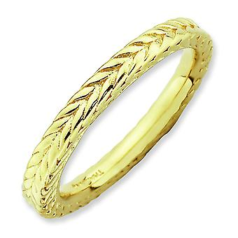 2.5mm Sterling Silver Polished Patterned Domed band Stackable Expressions Gold-Flashed Domed Ring - Ring Size: 5 to 10