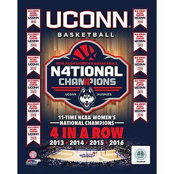 Universitetet i Connecticut Huskies 2016 NCAA Women 's College Basketball National Champions kompositt 11 ganger og 4 i en rad Champions fotoutskrift (8 x 10)