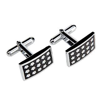 Frédéric Thomass cuff links square Manchester stainless steel black silver