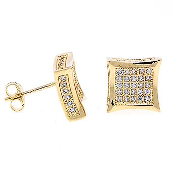 925 sterling silver MICRO PAVE earrings - SIDE 10 mm gold