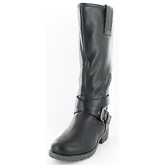 Ladies Spot On Asymmetric Zip Biker Style Boots Black Size 3