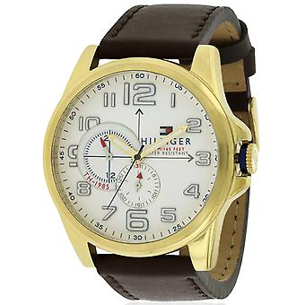 Tommy Hilfiger goud-Tone Leather Chronograph Mens Watch 1791003