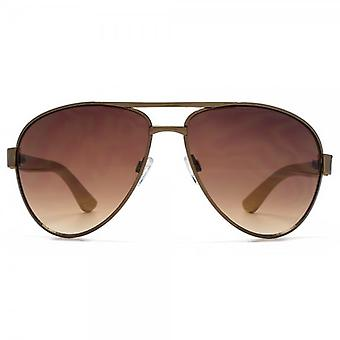 Fenchurch Bamboo Temple Aviator Sunglasses In Shiny Brown