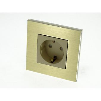 I LumoS Luxury Gold Brushed Aluminium Frame Schuko EU 16A German Single Socket