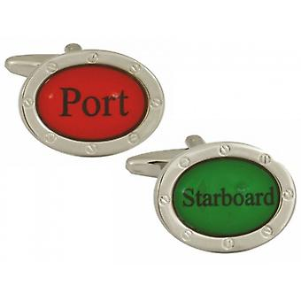 Zennor Port Starboard Cufflinks - Red/Green
