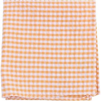 Knightsbridge Neckwear Gingham Checked Cotton Pocket Square - Yellow/White