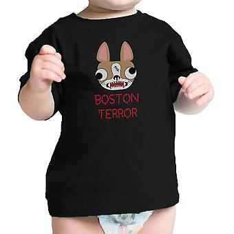 Boston Terror skrækkelig Cute Baby sort Tee Shirt Halloween kostume