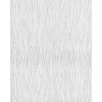EDEM wallpaper stripes 122n-20 vinyl shaped tone on-tone and metallic effect white grey 5.33 m2