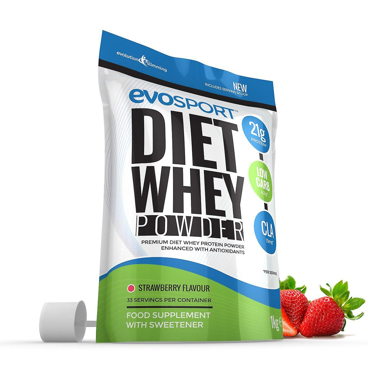 EvoSport Diet Whey Protein with CLA, Acai Berry and Green Tea 1kg - Strawberry - Diet Whey Protein - Evolution Slimming
