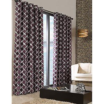 Limoges Patterned Lined Melange Curtains With Eyelet Top
