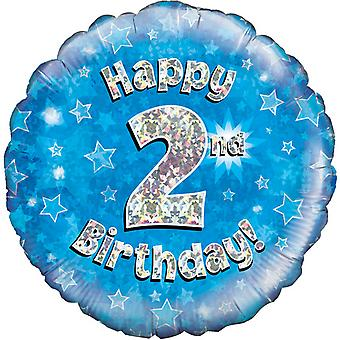 Oaktree 18 Inch Happy 2nd Birthday Blue Holographic Balloon