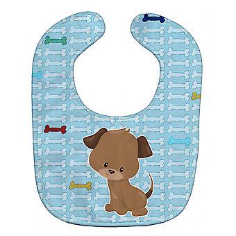 Carolines schatten BB7079BIB Puppy op blauwe botten Baby slabbetje