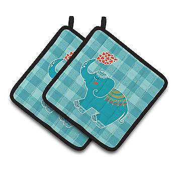 Carolines Treasures  BB6744PTHD Elephant Love Pair of Pot Holders