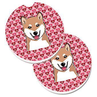 Shiba Inu Hearts Set of 2 Cup Holder Car Coasters