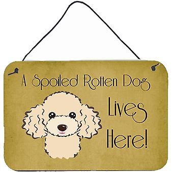 Buff Poodle Spoiled Dog Lives Here Wall or Door Hanging Prints