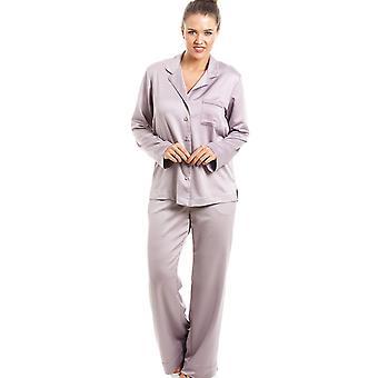Camille lyxiga Mink Full längd Satin Pyjamas Set