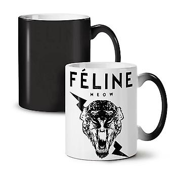 Tiger Face Cool Animal NEW Black Colour Changing Tea Coffee Ceramic Mug 11 oz | Wellcoda