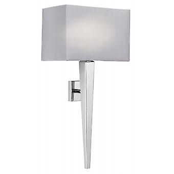 Chrome Wall Bracket With Grey Faux Silk Shade - Endon Moreto-1wbch