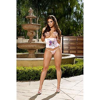 Elegant Moments EM-4613 Lovely Satin Waist Cincher Floral Tattoo Printed Design