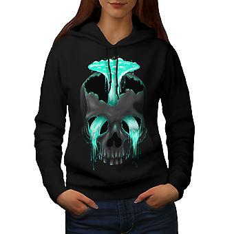 Head Waterfall Cool Skull Women BlackHoodie | Wellcoda