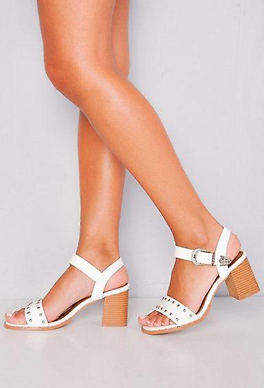 Sandals Western Studded Strappy White Style Heel Block d7dwxq4XT