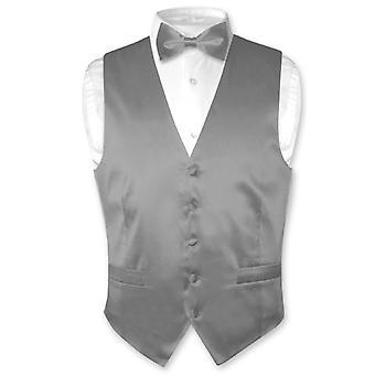 Biagio mäns siden klänning Vest & fluga fast BowTie sätta