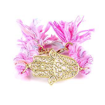 Ettika - Bracelet in yellow gold Hamsa and cotton ribbons braided Roses