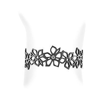 Bracelet in Silicone black effect tattoo flowers