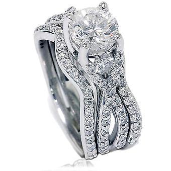 ct de 1 3/4 bague de fiançailles diamant torsion & demi-jonc ensemble 14K or blanc