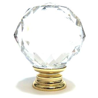 Clear Crystal Cut Faceted Glass Knob (L)