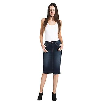 USKEES Mia Denim Pencil Skirt - Indigo Raw Hem Midi Jean Skirt Below-the-knee