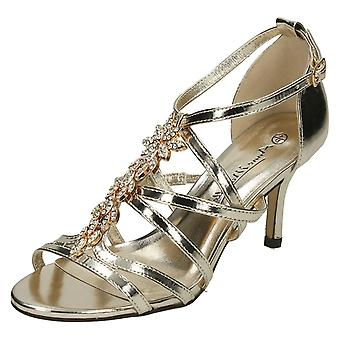 Ladies Anne Michelle Mid Heel Strappy Sandals F10582