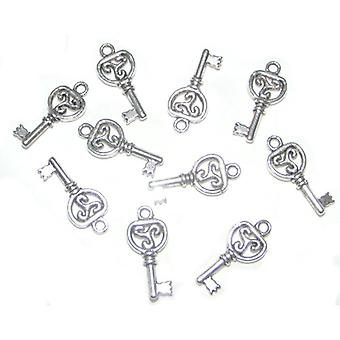 Packet 20 x Antique Silver Tibetan 21mm Key Charm/Pendant ZX03250
