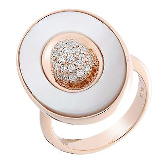 Orphelia Silver 925 Ring Oval Rosegold Plated With Center  Zirconium   ZR-7292