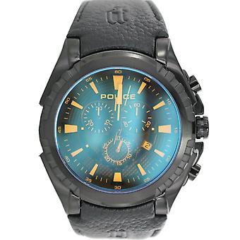 Police mens watch wristwatch leather analog PL. 14312JSB/02