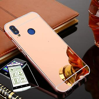 Mirror / Mirror aluminium of bumper 2 piece pink + 0.3 mm H9 tempered glass for Huawei P20